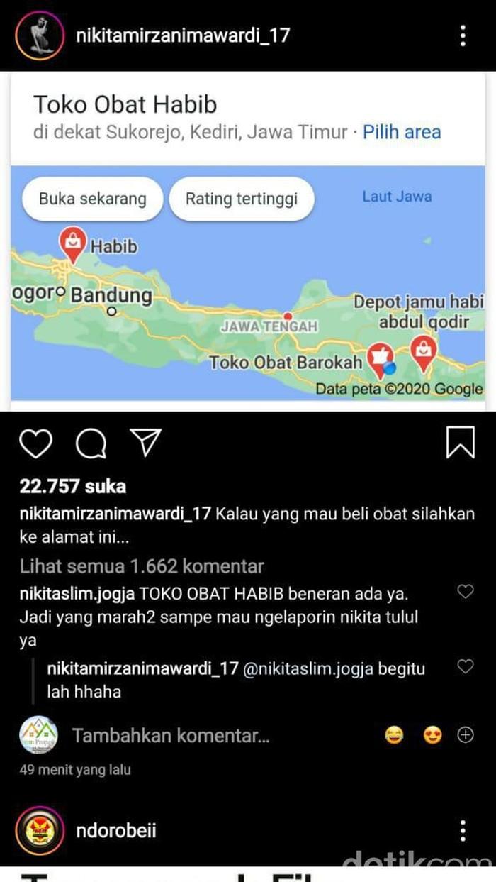 instagram nikita mirzani soal toko obat di malang