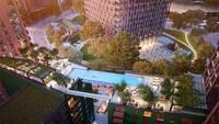 Para perenang di kolam mewah ini akan dapat menikmati pemandangan pusat kota London sambil bergelantungan di antara dua gedung apartemen, setinggi sepuluh lantai.