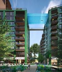 Kolam renang sepanjang 25 meter yang mengesankan menggantung 35 meter (115 kaki) di atas tanah dan telah dibangun di antara dua bangunan di Taman Kedutaan, lingkungan perumahan baru di Nine Elms, London, Inggris.
