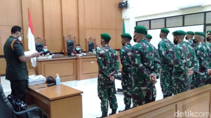 Persidangan 11 prajurit TNI 17 November 2020. (Ibnu Hariyanto/detikcom)