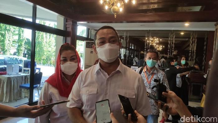 Calon Wali Kota dan Wakil Wali Kota Semarang, Hendrar Prihadi-Hevearita Gunaryanti Rahayu (Hendi-Ita), usai debat publik perdana, Rabu (18/11/2020).