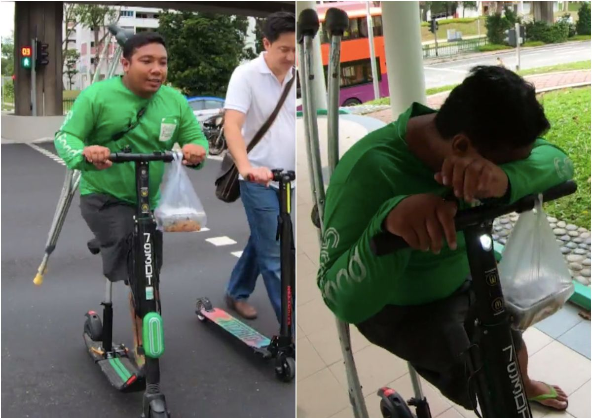 Driver Ojol Tetap Semangat Antar Makanan Hanya dengan Satu Kaki