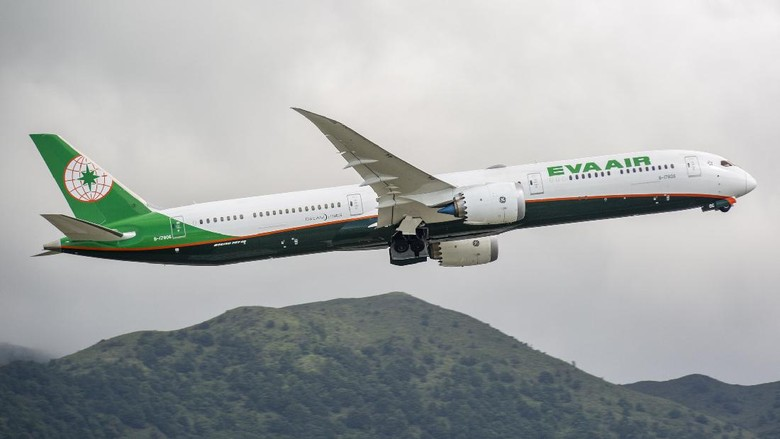 This image is of an Eva Air Boeing 787-10 departing out of Hong Kong international airport. EVA Air Corporations, of which