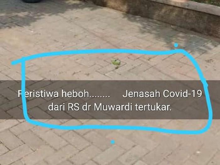 Viral jenazah pasien Corona dari RS Moewardi Solo tertukar, Kamis (19/11/2020).