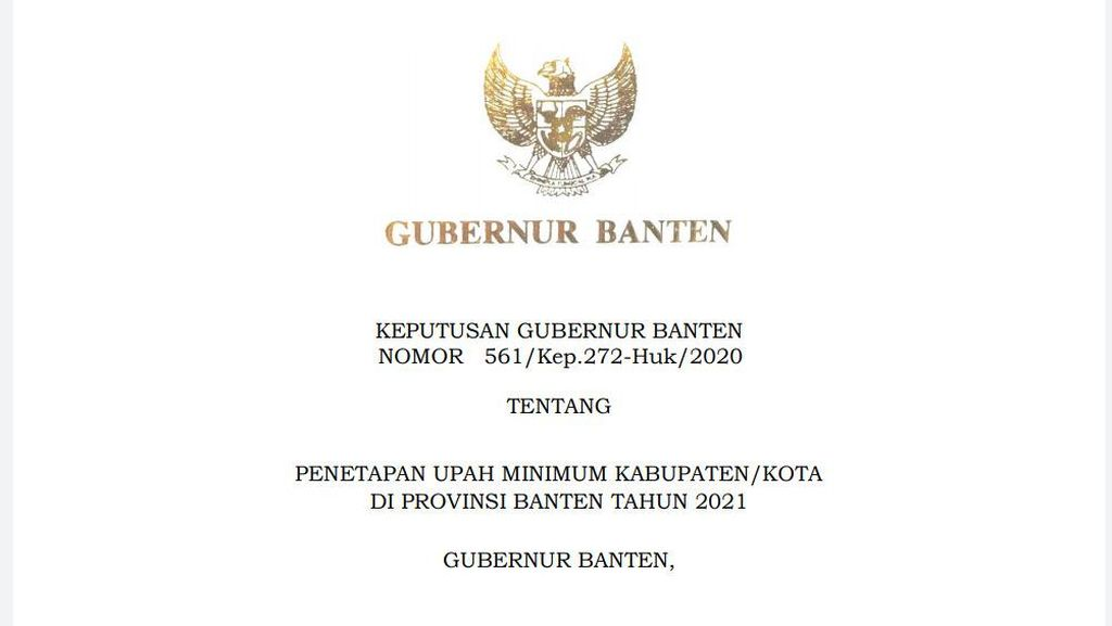 UMK 2021 di Banten Naik 1,5 Persen, Ini Rinciannya