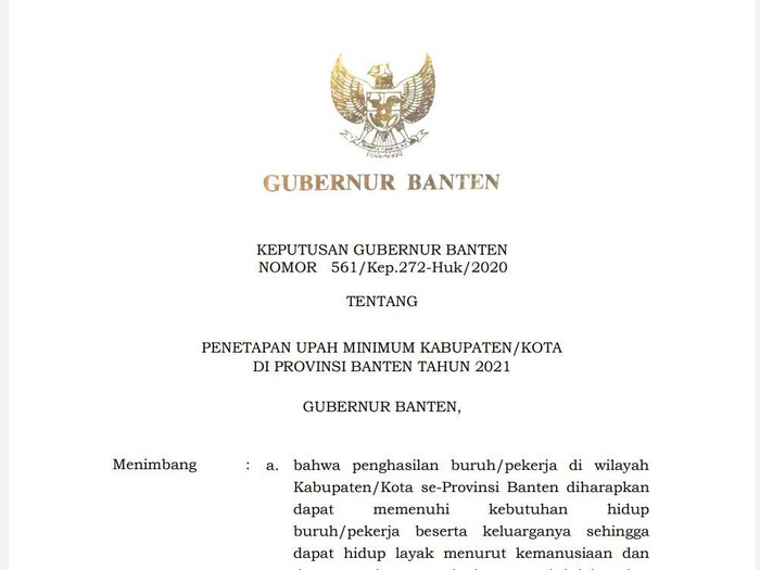 Kepgub Banten soal UMK 2021