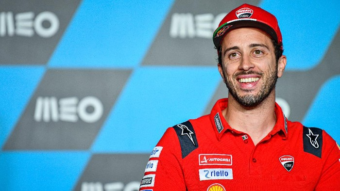 Andrea Dovizioso pada konferensi pers jelang MotoGP Portugal 2020.
