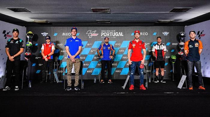 Franco Morbidelli, Jack Miller, Joan Mir, Miguel Oliveira, Andrea Dovizioso, Cal Crutchlow dan Pol Espargaro pada konferensi pers jelang MotoGP Portugal 2020.