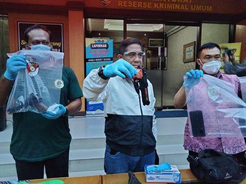 Konferensi pers kasus penodongan petugas SPBU di Benoa, Bali