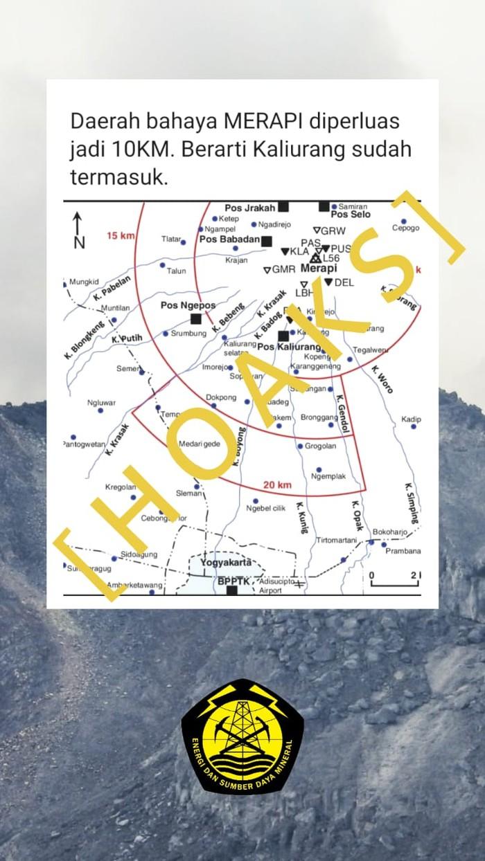 Pesan berantai berisi peta bahaya Merapi diperluas jadi 10 km yang dipastikan hoax. BPPTKG mengatakan peta ini merupakan bagian dari jurnal asing terkait erupsi Gunung Merapi tahun 2010 lalu.
