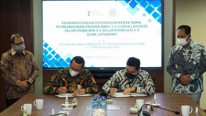PT Ceria Nugraha Indotama (CNI) gandeng PT Pembangunan Perumahan (PP) Persero, genjot pembangunan proyek pabrik peleburan (smelter) feronikel di Kolaka, Sulawesi Tenggara.