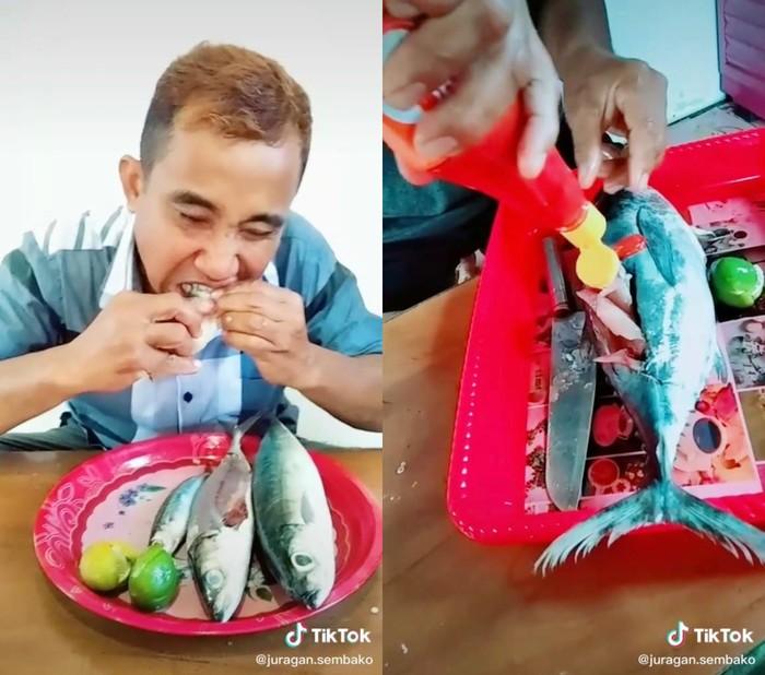 Demi Konten, Bapak-bapak Ini Rela Makan Ikan dan Udang Mentah