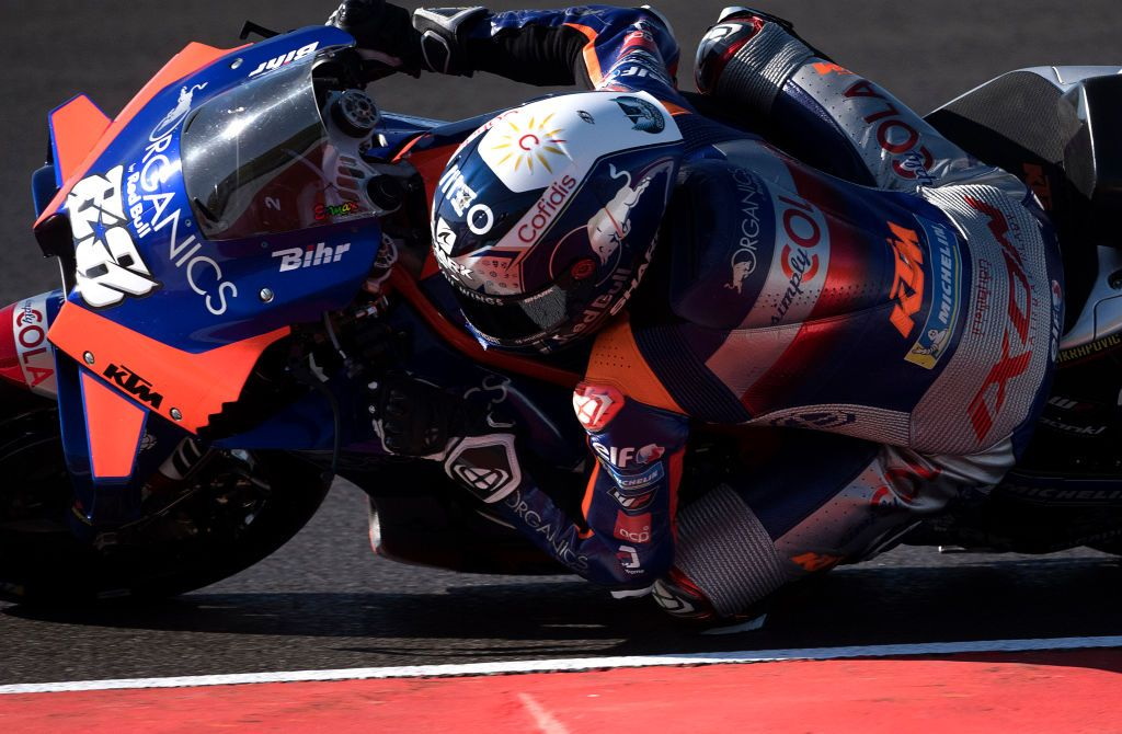 PORTIMAO, PORTUGAL - NOVEMBER 20: Miguel Oliveira of Portugal and Team KTM Tech 3 rounds the bend during the free practice for the MotoGP of Portugal at Algarve Motor Park on November 20, 2020 in Portimao, Portugal. (Photo by Mirco Lazzari gp/Getty Images)
