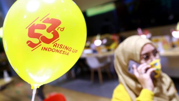 Momen perayaan HUT ke-53 Indosat Ooredoo salah satunya digelar di gerai Kota Kasablanka, Jakarta.