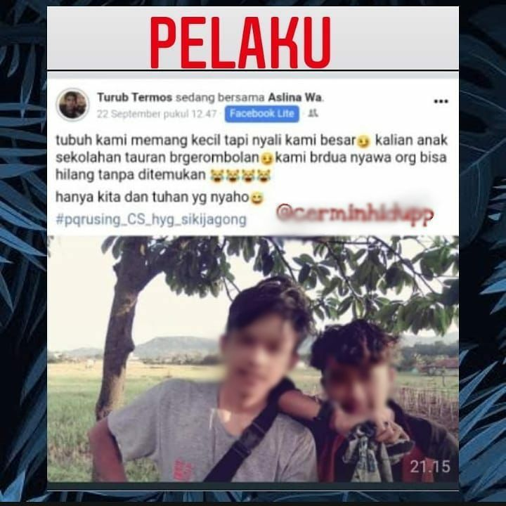 Tangkapan layar posting-an di media sosial diduga milik pelaku