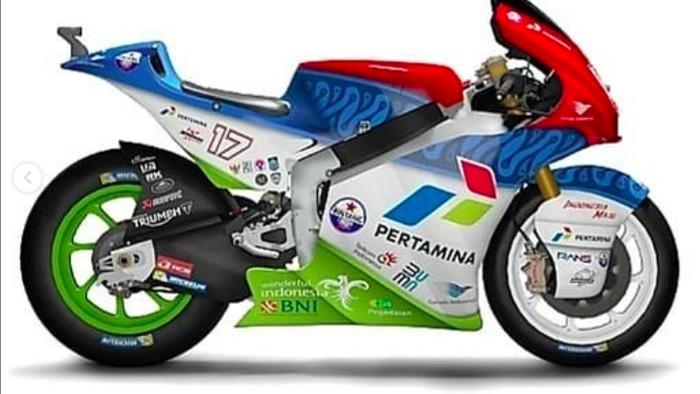 Desain livery motor balap Mandalika Racing Team Indonesia