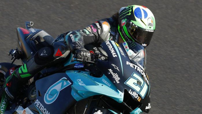 MotoGP rider Franco Morbidelli of Italy steers his motorcycle during a free practice session for the Portuguese Motorcycle Grand Prix, the last race of the season, at the Algarve International circuit near Portimao, Portugal, Saturday, Nov. 21, 2020. The Portuguese Grand Prix will be held Sunday. (AP Photo/Armando Franca