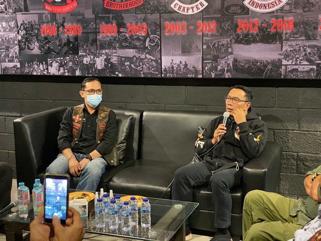 Ridwan Kamil Sambangi Markas Bikers, Ingatkan Protokol Kesehatan