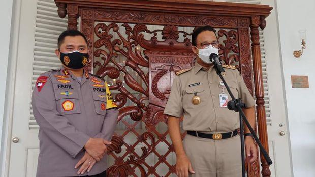 Kapolda Metro Jaya Irjen Fadil Imran temui Gubernur DKI Jakarta Anies Baswedan di Balai Kota.