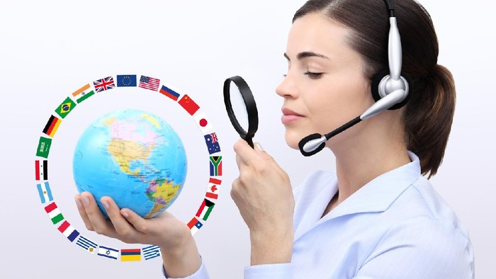 concept search, customer service operator woman with headset, globe, flags and magnifying glass