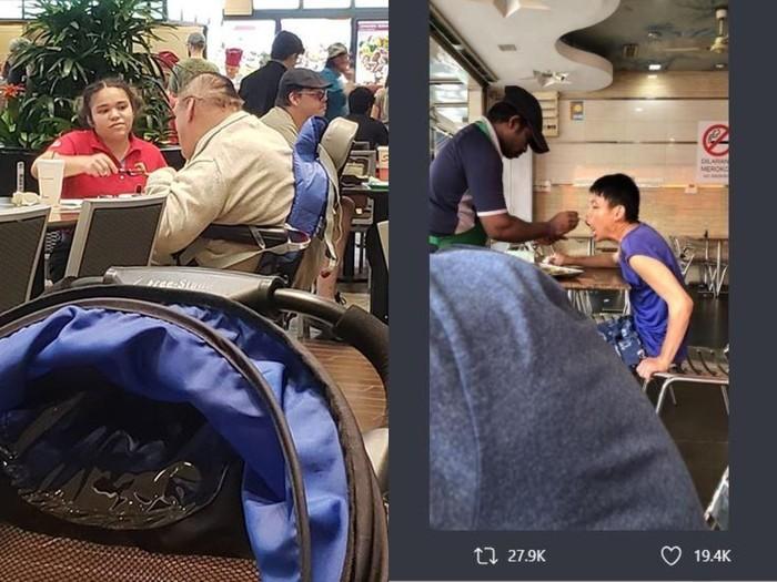 5 Pelayan Restoran Ini Tulus Bantu Suapi Pelanggan Penyandang Disabilitas