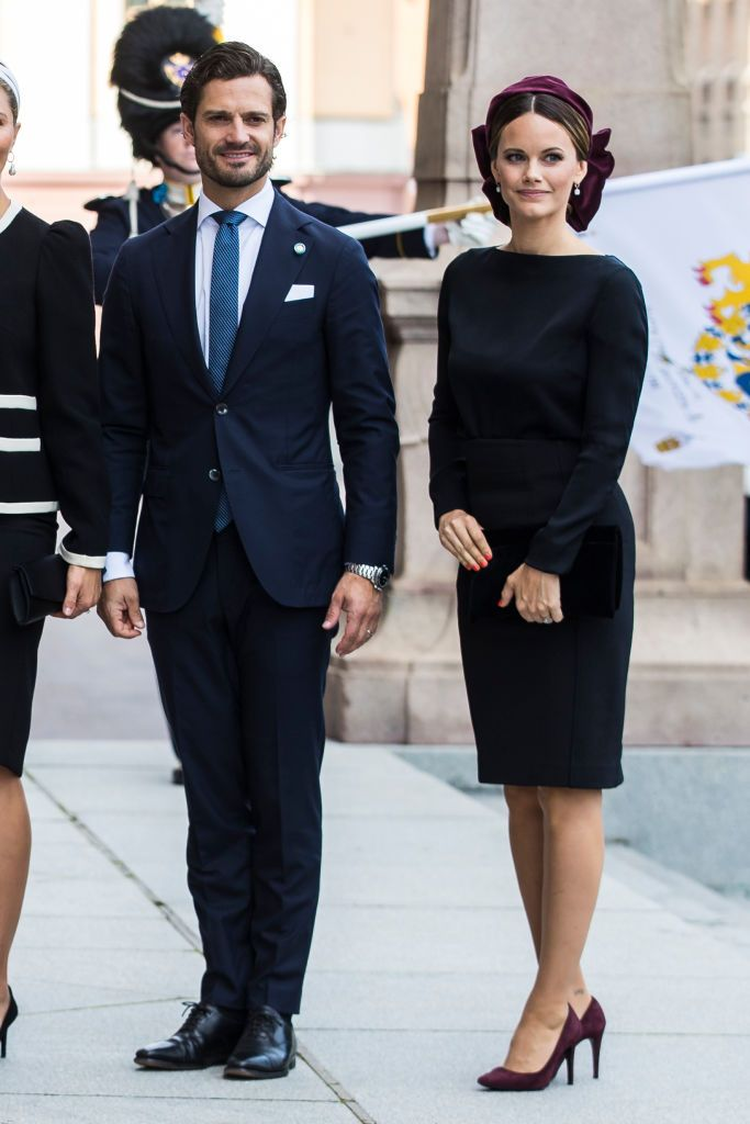 STOCKHOLM, SWEDEN - SEPTEMBER 10: Prince Carl Philip of Sweden and Princess Sofia of Sweden pose for a picture upon arriving at the Swedish Parliament House for the opening of the new parliamentary session on September 10, 2019 in Stockholm, Sweden. (Photo by Michael Campanella/Getty Images)