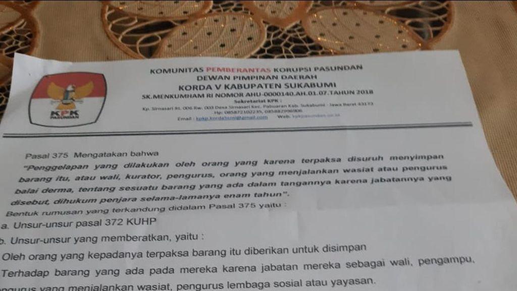 Ini Surat Undangan LSM KPK Pasundan yang Dipersoalkan Kades di Sukabumi