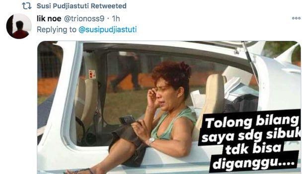 Susi Pudjiastuti Jawab Netizen di Twitter