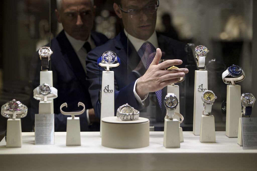 BASEL, SWITZERLAND - MARCH 16:  Jacob & Co watches displays are prepared during Baselworld on March 16, 2016 in Basel, Switzerland. Held annually, Baselworld is the most important watch and jewellery industry showcase event for the sector.  (Photo by Harold Cunningham/Getty Images)