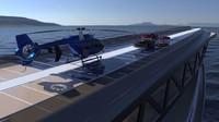 Ada enam dek, tiga hanggar helikopter dan juga garasi yang diisi permainan air untuk penumpang. (Lazzarini Design Studio)