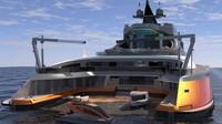 Kapal ini memiliki ruang yang cukup untuk menampung kapal pesiar kedua berukuran 30 meter. (Lazzarini Design Studio)