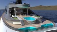 Ada juga tiga buah kolam renang. Bagian atas kapal dirancang meniru gigi dan hidung hiu.(Lazzarini Design Studio)