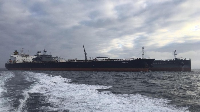 In this October 2019 photo, the MT Agrari is seen off the coast of Frederikshavn, Denmark. A mine in the Red Sea off Saudi Arabias coast near Yemen exploded and damaged the oil tanker MT Agrari on Wednesday, Nov. 25, 2020, authorities said, the latest incident targeting the kingdom amid its long war against Yemens Houthi rebels. (Morten Weesgaard via AP)