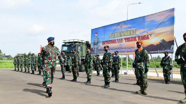 Peresmian Satuan Peluru Kendali (Saturdal) 111 TNI AU di Teluk Naga, Tangerang, Banten, Kamis (26/11/2020).