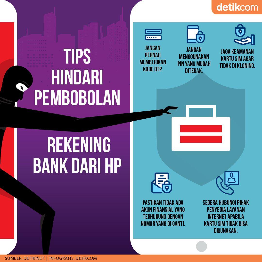 Infografis Tips Anti Pembobolan Rekening dari HP