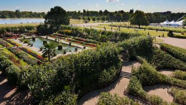 Tak hanya keindahan di dalam istana, terdapat pula perkebunan di luarnya. Taman Sunken ditanam pada tahun 1908 dan hingga kini masih terlihat gaya berkebun abad 18 (Kensington Palace)