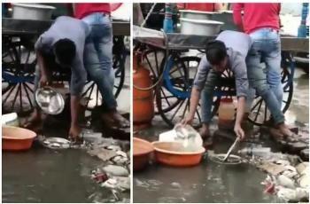 Jorok! 5 Penjual Makanan Ini Cuci Alat Makan Pakai Air Kotor