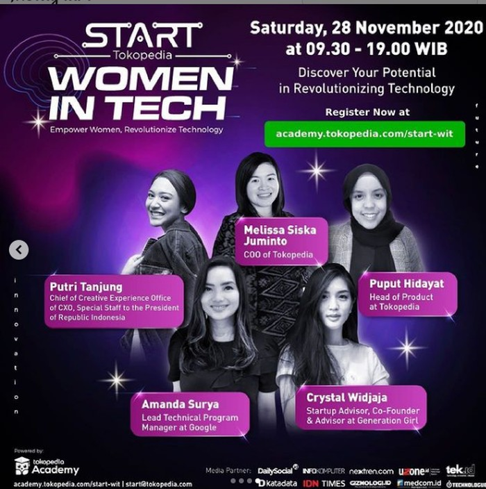 Tokopedia menggelar konferensi START Women in Tech 2020 sebagai wadah kaum perempuan yang senang maupun berkarir dalam dunia teknologi.