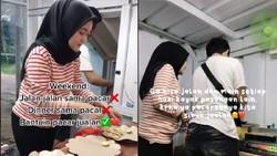 Idaman! Wanita Ini Rajin Bantu Kekasihnya Jualan Sate Taichan