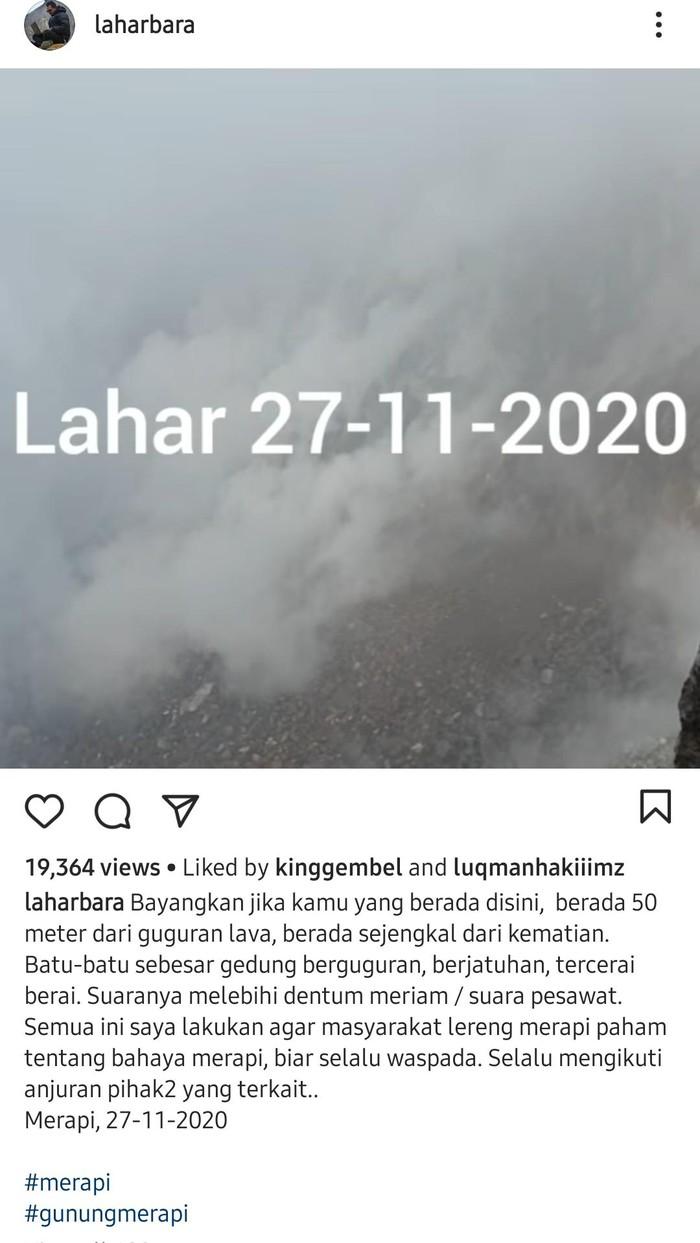 akun instagram warga yang mengaku merekam puncak merapi, 27 november 2020