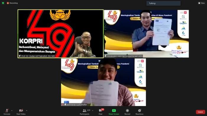 KORPRI, Prof. Dr. Zudan Arif Fakrulloh, Direktur Utama PT Realta Chakradarma, Rizaldi Sustiabudi; dan CEO & Founder PT Ammana Fintek Syariah, Lutfi Adhiansyah (bawah).