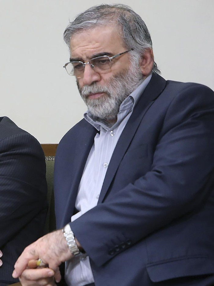 In this picture released by the official website of the office of the Iranian supreme leader, Mohsen Fakhrizadeh sits in a meeting with Supreme Leader Ayatollah Ali Khamenei in Tehran, Iran, Jan. 23, 2019. Fakhrizadeh, an Iranian scientist that Israel alleged led the Islamic Republics military nuclear program until its disbanding in the early 2000s was killed in a targeted attack that saw gunmen use explosives and machine gun fire Friday Nov. 27, 2020, state television said. Two others are unidentified. (Office of the Iranian Supreme Leader via AP)