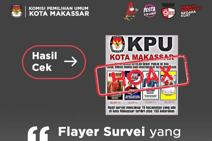 Selebaran (flyer) digital atas survei empat Paslon Wali Kota dan Wakil Wali Kota Makassar. KPU Makassar menyatakan flyer tersebut hoax (ANTARA/HO)