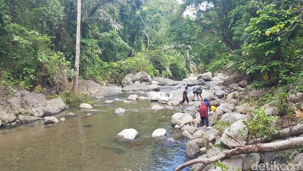 Air terjun ini di kelilingi oleh pepohonan yang rindang. Sehingga suasananya sangat sejuk. (Abdy Febriady/detikcom)