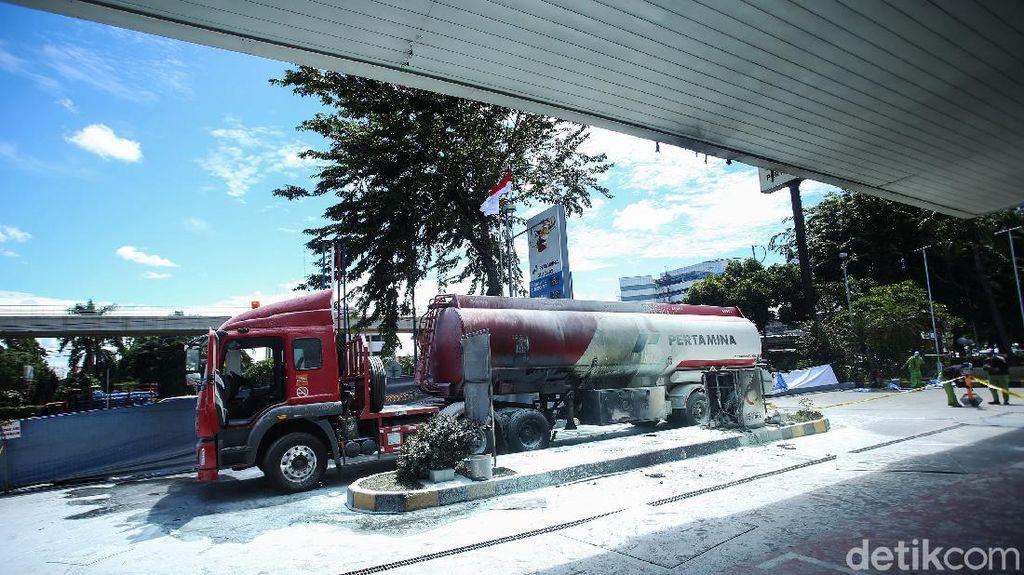 Begini Kondisi Mobil Tangki yang Terbakar di SPBU MT Haryono