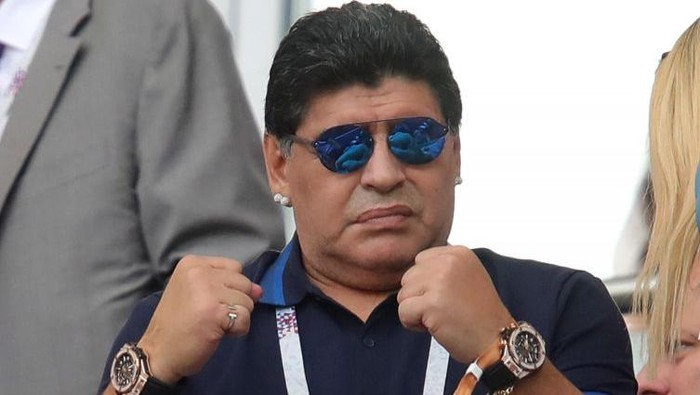 KAZAN, RUSSIA - JUNE 30:  Diego Armando Maradona reacts prior to the 2018 FIFA World Cup Russia Round of 16 match between France and Argentina at Kazan Arena on June 30, 2018 in Kazan, Russia.  (Photo by Alexander Hassenstein/Getty Images)