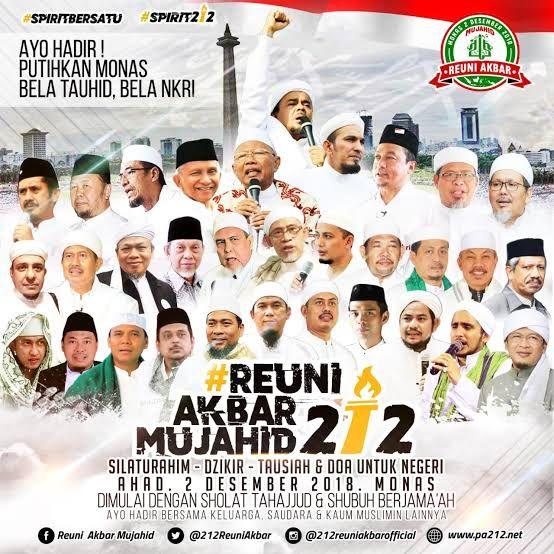 Poster Reuni 212 tahun 2018.