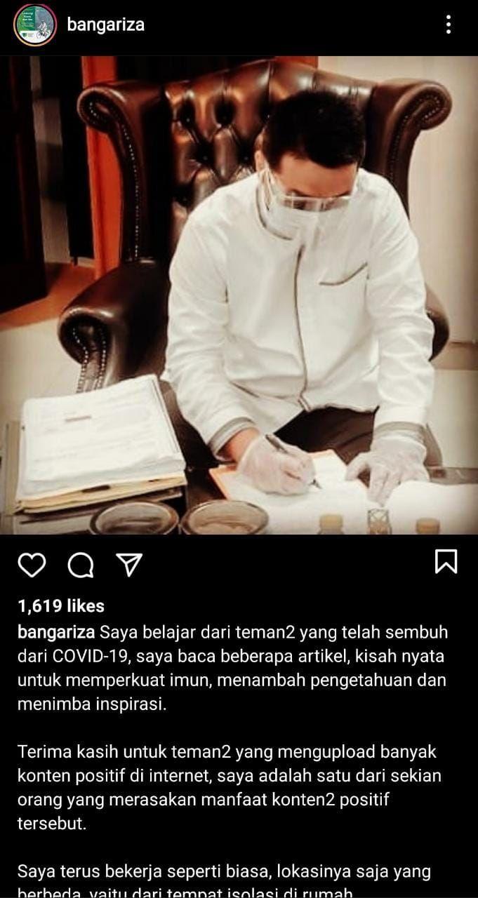 Tangkapan layar Instagram Wagub DKI Jakarta, Ahmad Riza Patria