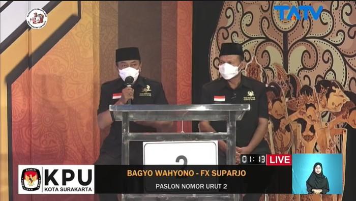 Bagyo Wahyono-FX Suparjo mengikuti debat pamungkas Pilkada Solo, Kamis (3/12/2020)