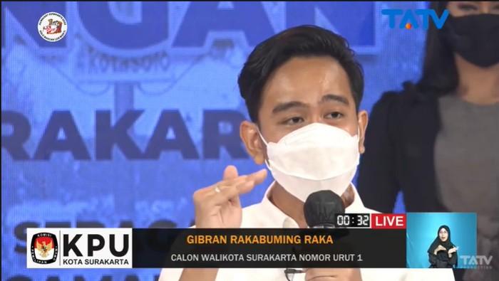 Gibran Rakabuming saat mengikuti debat pemungkas Pilkada Solo 2020, Kamis (3/12/2020).